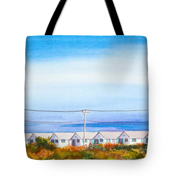 Indian Summer Days Cottages North Truro Massachusetts Watercolor Painting Tote Bag