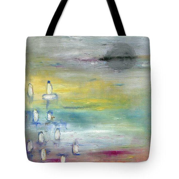 Tote Bag featuring the painting Indian Summer Over The Pond by Michal Mitak Mahgerefteh