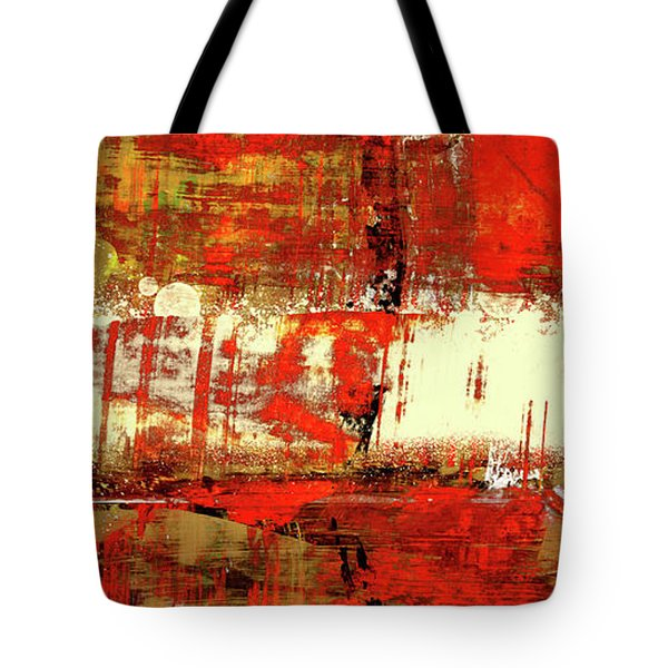 Indian Summer - Red Contemporary Abstract Tote Bag by Modern Art Prints