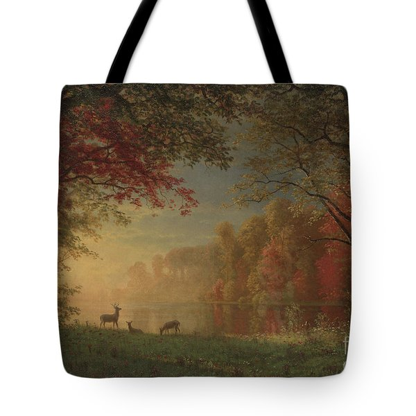 Indian Sunset Deer By A Lake Tote Bag