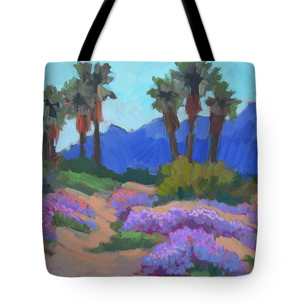 Tote Bag featuring the painting Indian Wells Verbena by Diane McClary