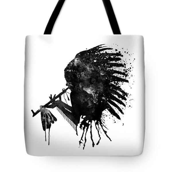 Tote Bag featuring the mixed media Indian With Headdress Black And White Silhouette by Marian Voicu