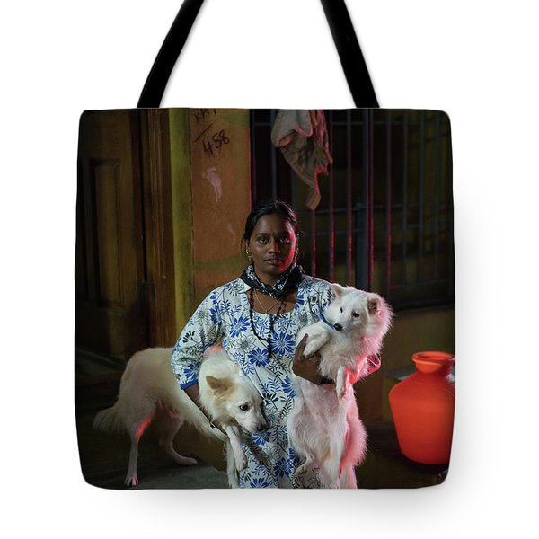 Tote Bag featuring the photograph Indian Woman And Her Dogs by Mike Reid