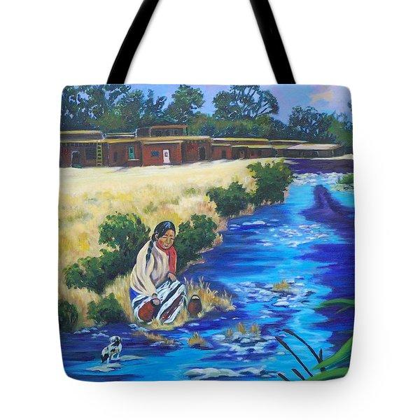 Indian Woman At The Watering Hole Tote Bag