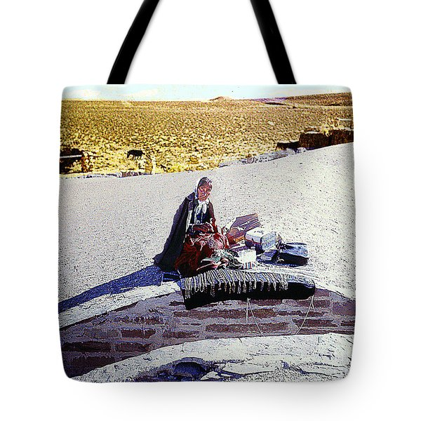 Tote Bag featuring the photograph Indian Woman Making And Selling Bead Jewelry by Merton Allen