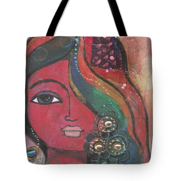 Indian Woman With Flowers  Tote Bag