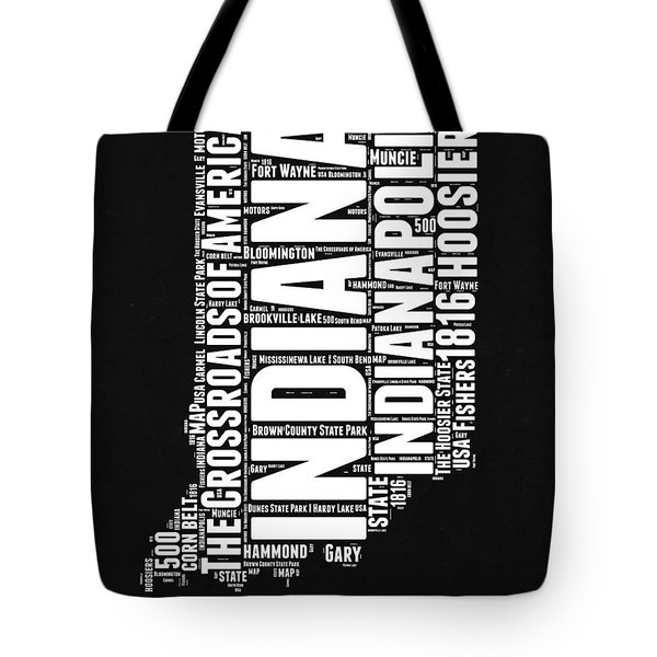 Indiana Black And White Word Cloud Map Tote Bag