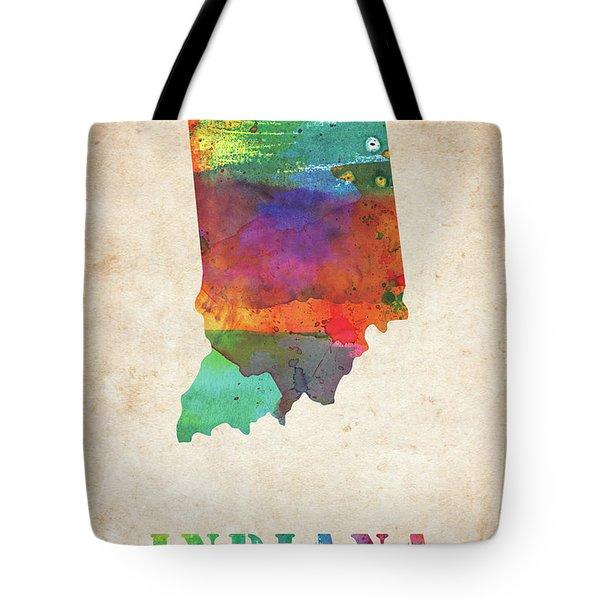Indiana Colorful Watercolor Map Tote Bag