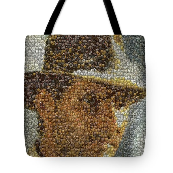 Tote Bag featuring the mixed media Indiana Jones Treasure Coins Mosaic by Paul Van Scott