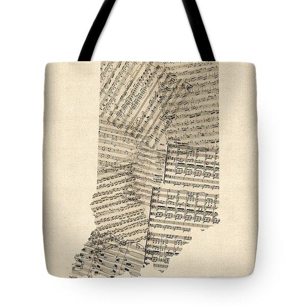 Indiana Map, Old Sheet Music Map Tote Bag by Michael Tompsett