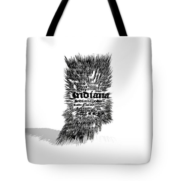 Indiana Typographic Map 5a Tote Bag