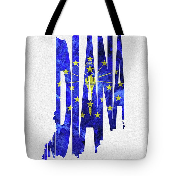 Indiana Typographic Map Flag Tote Bag