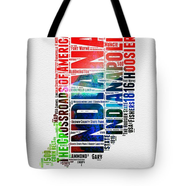 Indiana Watercolor Word Cloud Map  Tote Bag