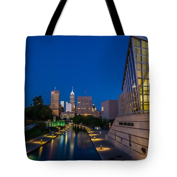 Indianapolis Skyline From The Canal At Night Tote Bag by Ron Pate