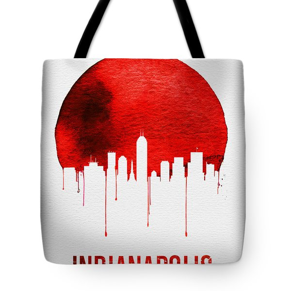 Indianapolis Skyline Red Tote Bag