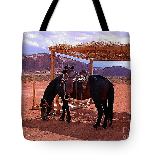 Tote Bag featuring the photograph Indian's Pony In Monument Valley Arizona by Merton Allen