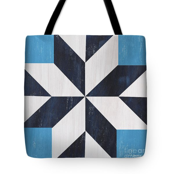 Tote Bag featuring the painting Indigo And Blue Quilt by Debbie DeWitt