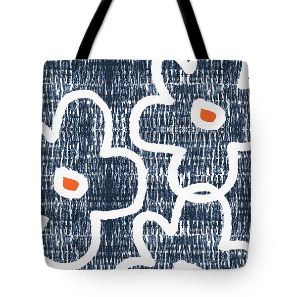Tote Bag featuring the mixed media Indigo And White Jumbo Flowers- Art By Linda Woods by Linda Woods