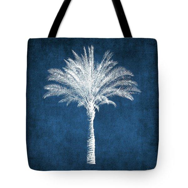 Indigo And White Palm Tree- Art By Linda Woods Tote Bag
