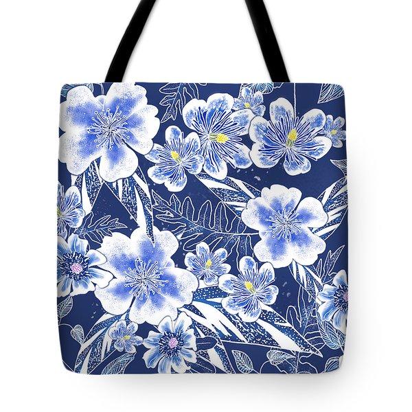 Indigo Batik Camellia Fern - 12 Tote Bag