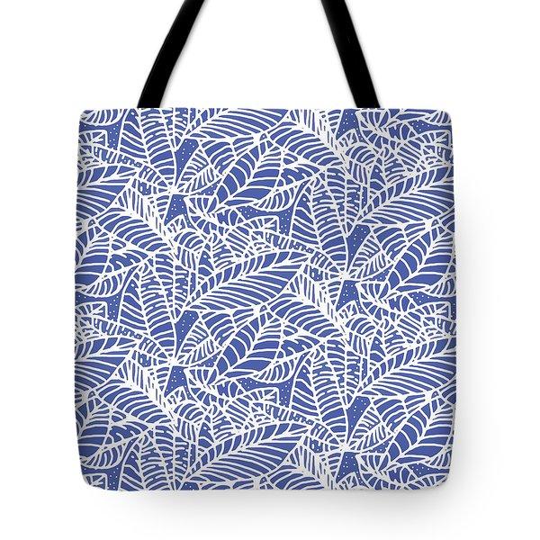 Indigo Batik Leaves Medium Tote Bag