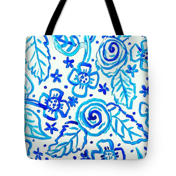 Tote Bag featuring the painting Indigo Blooms by Monique Faella