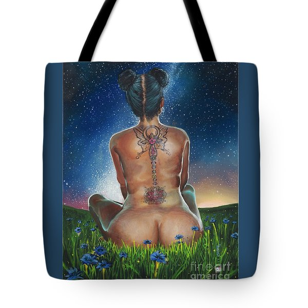 Tote Bag featuring the painting Indigo Blue by Baroquen Krafts