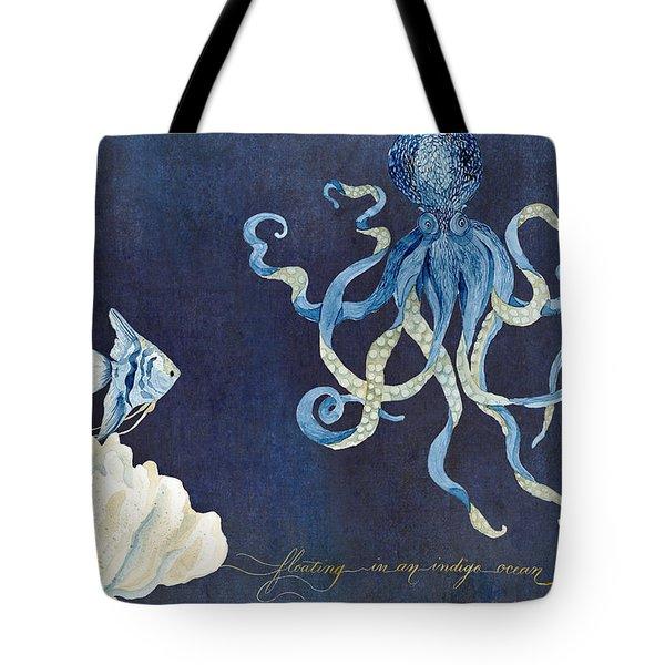 Indigo Ocean - Floating Octopus Tote Bag