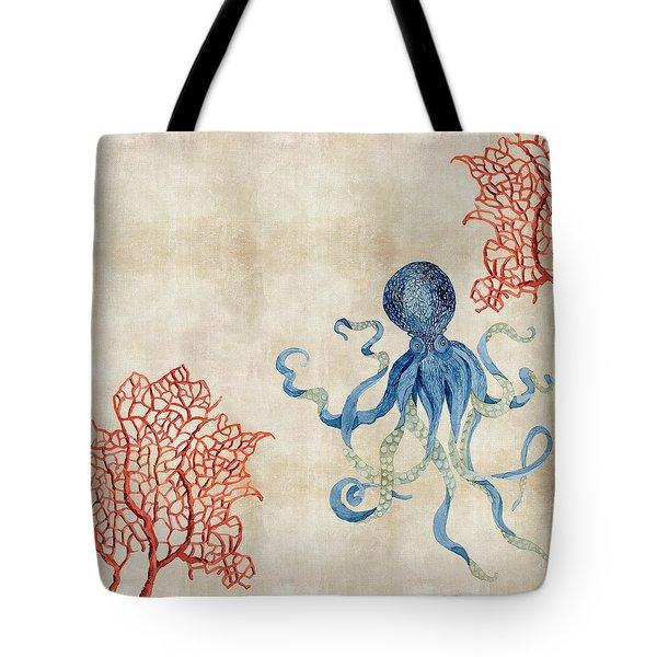 Indigo Ocean - Octopus Floating Amid Red Fan Coral Tote Bag