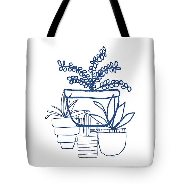 Tote Bag featuring the mixed media Indigo Potted Succulents- Art By Linda Woods by Linda Woods