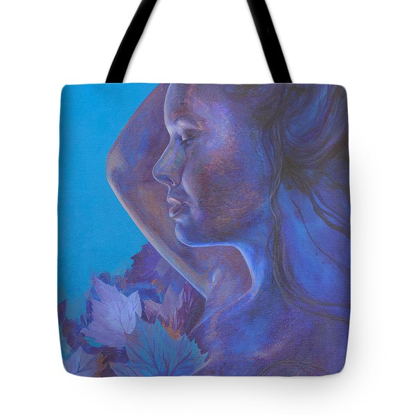 Tote Bag featuring the painting Indigo Serene by Ragen Mendenhall