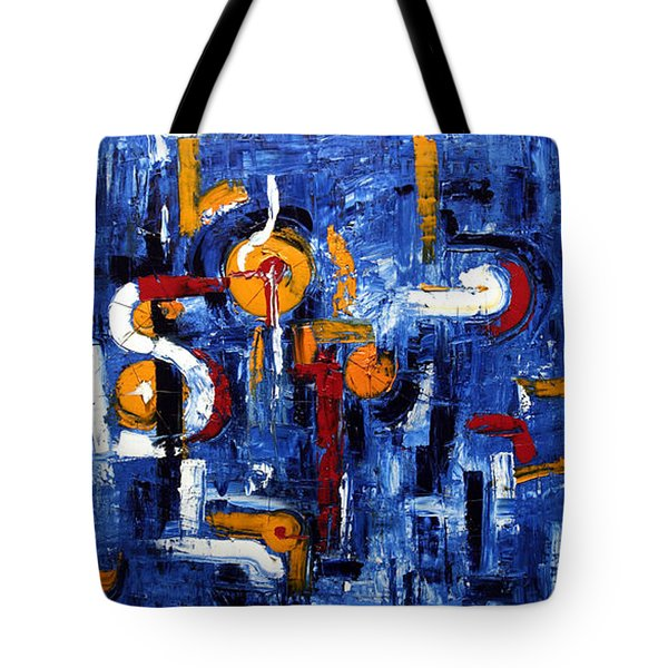 Tote Bag featuring the painting Industrial Abstract by Arturas Slapsys