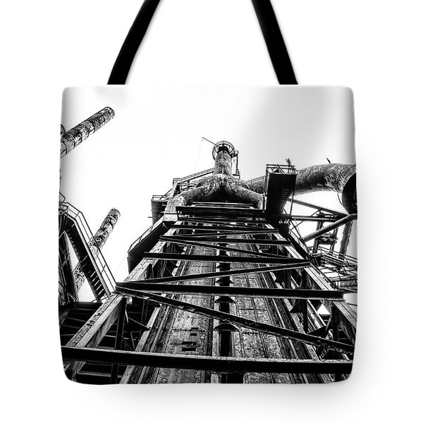 Industrial Age - Bethlehem Steel In Black And White Tote Bag by Bill Cannon
