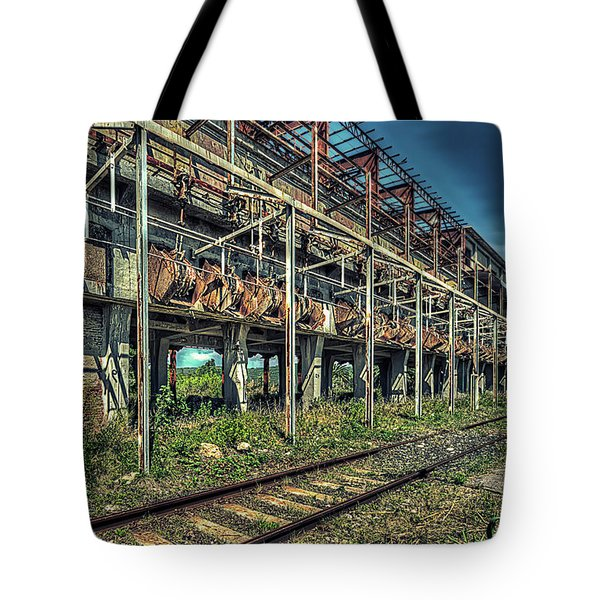 Tote Bag featuring the photograph Industrial Archeology Railway Silos - Archeologia Industriale Silos Ferrovia by Enrico Pelos