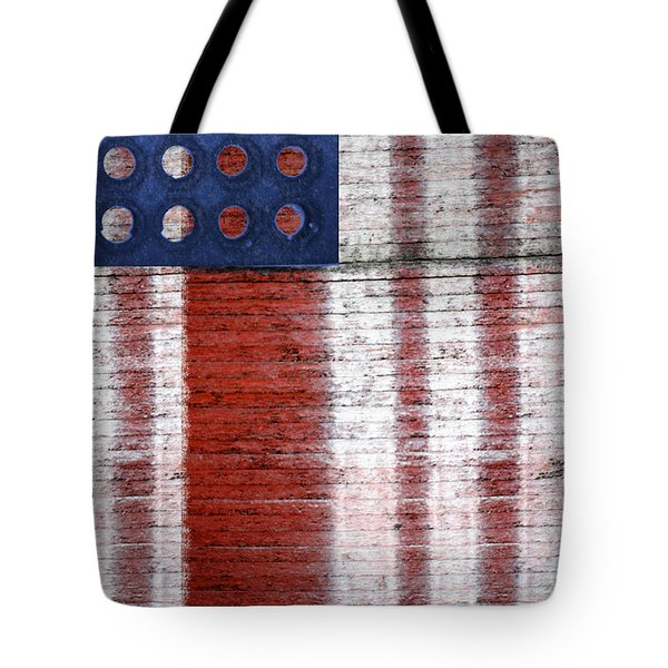 Tote Bag featuring the photograph Industrial Art American Flag Portrait by Suzanne Powers