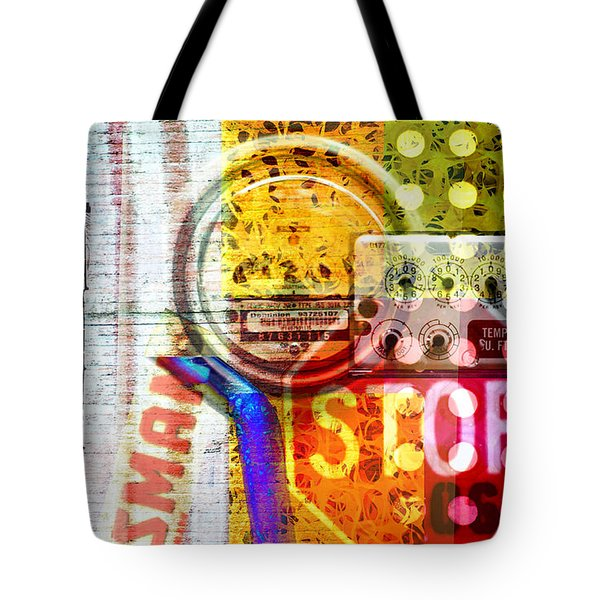 Tote Bag featuring the photograph Industrial Art Collage With Bright Colors by Suzanne Powers