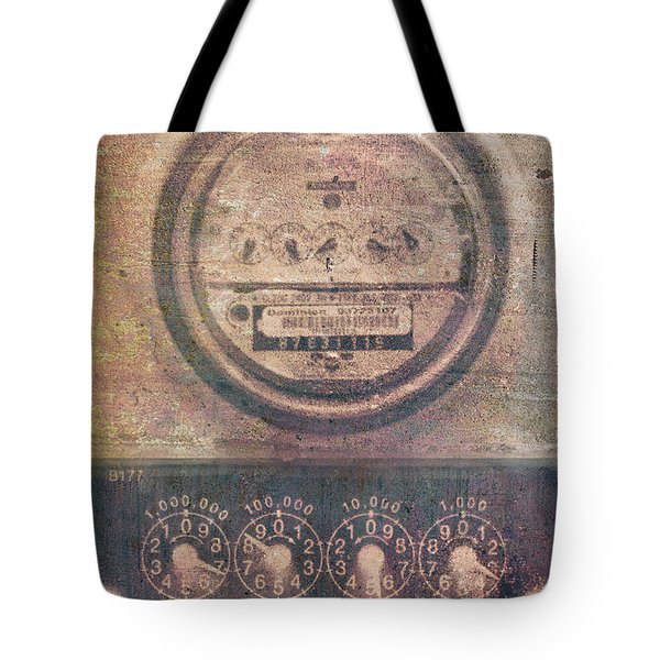 Tote Bag featuring the photograph Industrial Art Utility Meters  by Suzanne Powers
