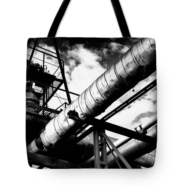 Industrial Metal Piping In Monochrome Tote Bag
