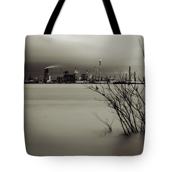 Industry On The Mississippi River, In Monochrome Tote Bag