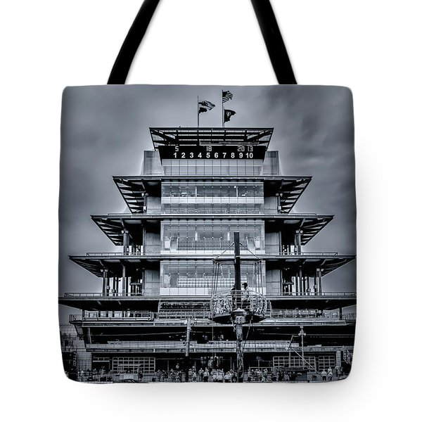 Indy 500 Pagoda - Black And White Tote Bag