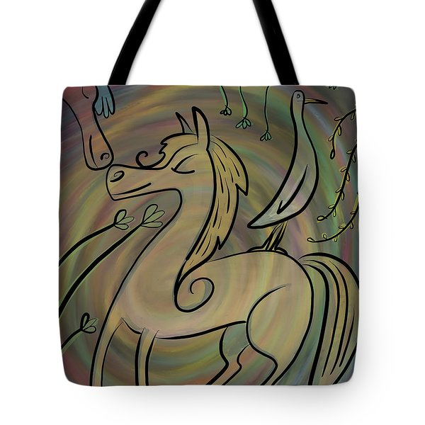 Tote Bag featuring the painting Infinite Pony Palomino by Marti McGinnis
