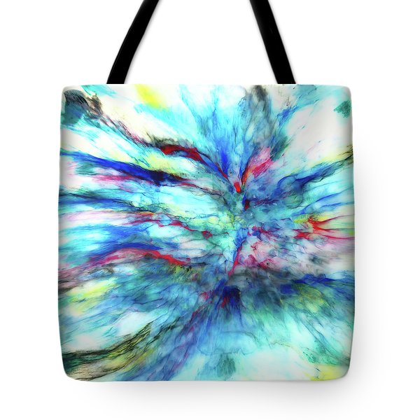 Tote Bag featuring the mixed media Influx by Tom Druin