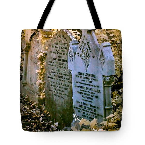 Tote Bag featuring the photograph Infrared George Leybourne And Albert Chevalier's Gravestone by Helga Novelli