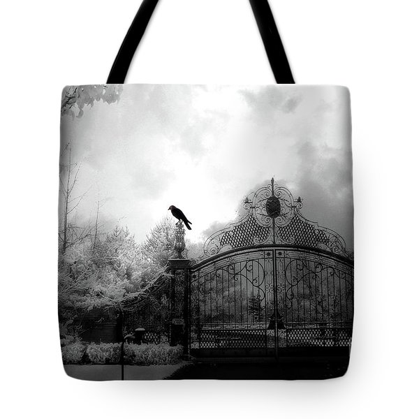 Tote Bag featuring the photograph Infrared Gothic Raven On Gate Black And White Infrared Print - Solitude - Gothic Raven Infrared Art  by Kathy Fornal