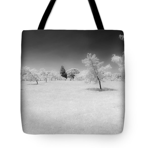 Infrared Peach Orchard Tote Bag