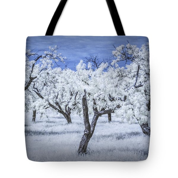 Infrared  Photograph Of A Cherry Orchard Tote Bag