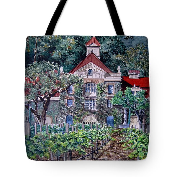 Tote Bag featuring the painting Inglenook Winery Napa Valley  by Gail Chandler