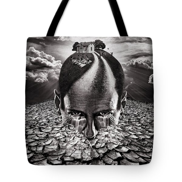 Inhabited Head Gray Scale Tote Bag