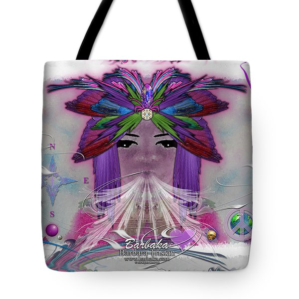 Tote Bag featuring the digital art Inhaling Exhaling Peace by Barbara Tristan