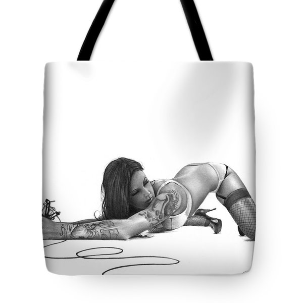 Tote Bag featuring the drawing Ink Angel by Pete Tapang